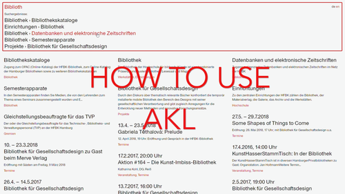 How to use AKL